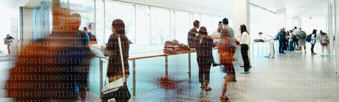 stylized picture of people standing in front of a bank of windows